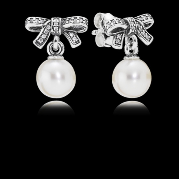 469c35467 Pandora Jewelry | Delicate Sentiments Drop Earrings White Pearl C ...
